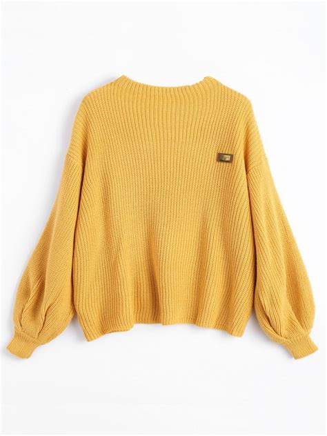 The Yellow Sweater oversized chevron patches pullover sweater yellow