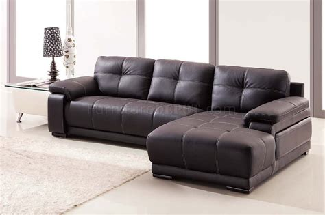 Lucy Sectional Sofa In Dark Brown Bonded Leather