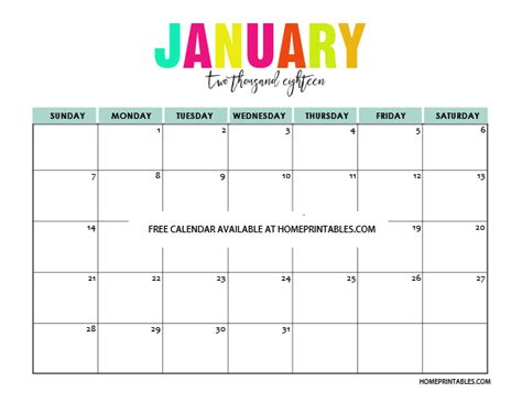 Free Printable Calendar 2018 Printable Calendar 2018 In Colors Free To Print