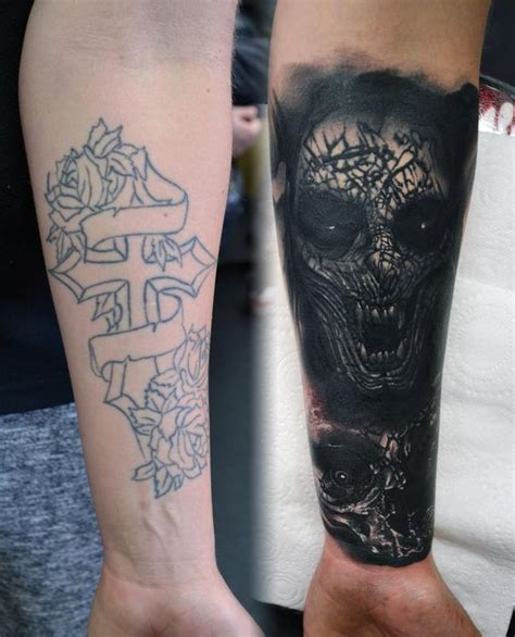 demon and skull cover up tattoo by alan aldred tattoos