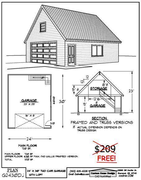 workshop plans with loft 24 x 30 two story garage favorite pinterest garage