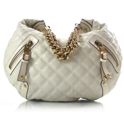 Marc Melinda Chain Hobo by Marc Leather Quilted Banana Chain Hobo White 16334
