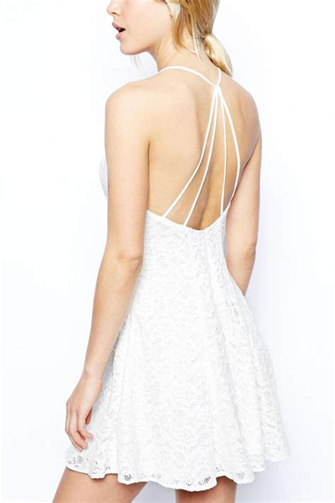 white lace halter strappy backless   dress  casual