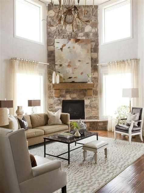 livingroom fireplace two story living room design ideas