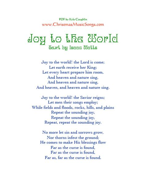 Printable Lyrics Joy To The World | joy to the world lyrics
