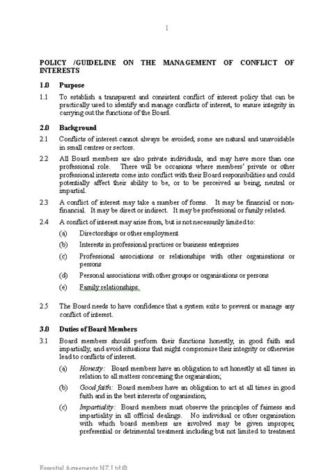 conflict of interest policy template uk 100 images