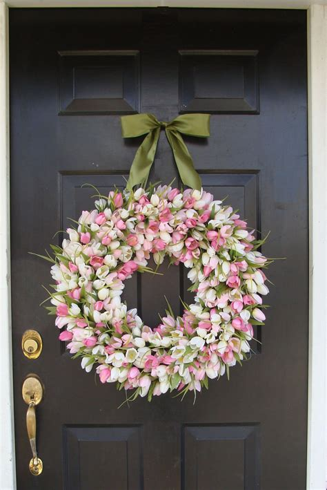 beautiful wreaths spring wreath pink mini tulip spring wreath front by
