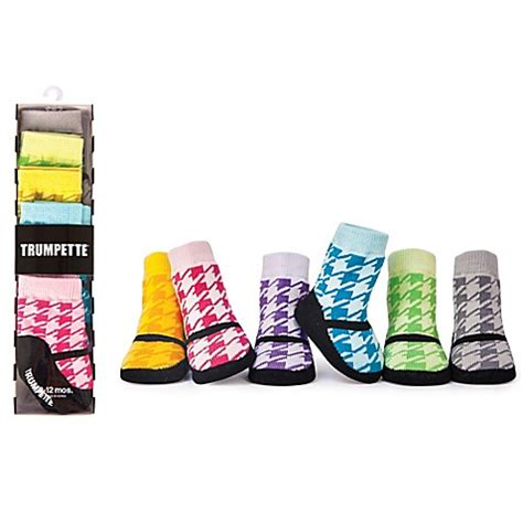 Trumpette Baby Socks Lilly S 0 12m trumpette size 0 12m 6 pack houndstooth maryjane shoe socks buybuy baby