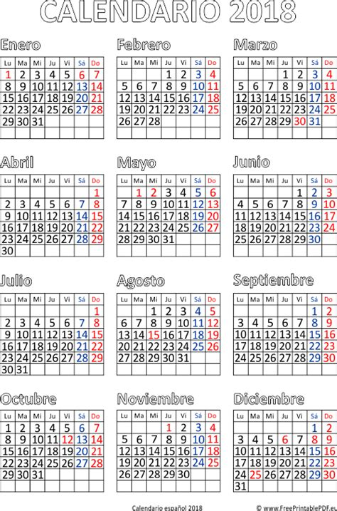 Calendario 2018 Mexico Para Imprimir Calendario 2018 Para Imprimir Espa 241 A Imprimir El Pdf Gratis