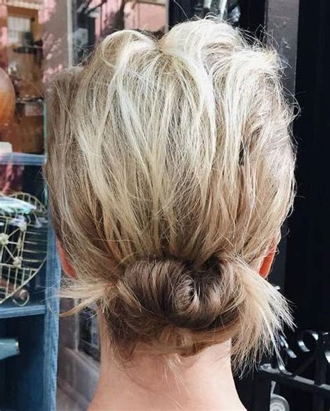 easy hairstyles for short hair bun 40 quick and easy short hair buns to try