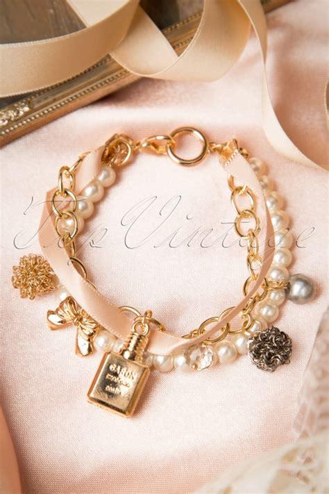 Jewelry Perfume Bottles Pearl Ribbon Bracelets 50s francine charm bracelet