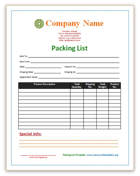 packing list template print paper templates