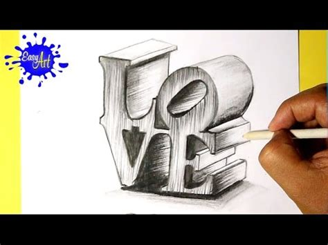 imagenes en 3d faciles a lapiz how to draw love how to draw 3d love como dibujar amor
