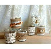 Burlap And Lace Covered Votive Tea Candles Country Chic Wedding