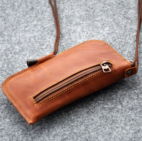 iphone case cover sleeve real leather zipper bag pouch  neck strap pocket ebay