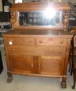 antique oak sideboard buffet beveled mirror amp winged griffins ebay