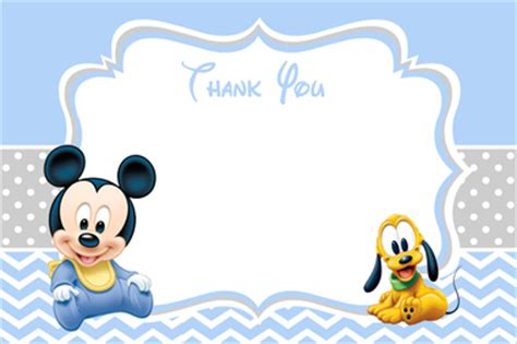 baby mickey mouse baby shower thank you card
