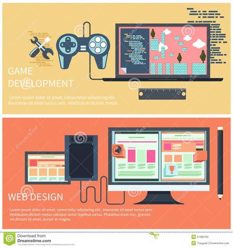 game concept design jobs game development and web design concept stock vector