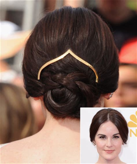 low bun with short hair michelle dockery s accessorized low bun 11 easy updos for