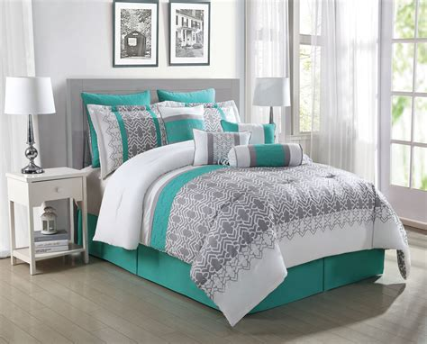 Teal Queen Comforter Set 10 Piece Luna Teal Gray White Reversible Comforter Set