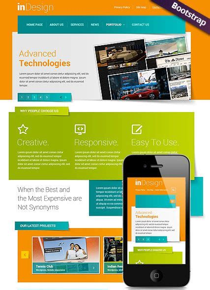 in design website template bootstrap mobile responsive