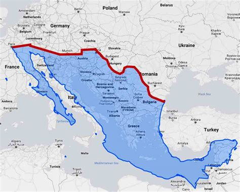 us mexico border wall map u s mexico border wall would divide europe in half big