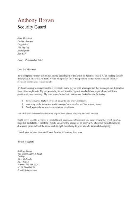 security guard cover letter resume covering letter text