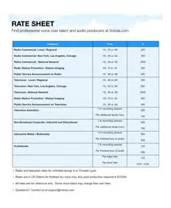rate sheets templates rate sheet template 9 free word excel pdf document