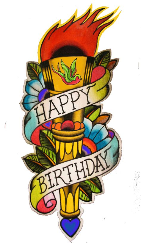 happy birthday tattoo happy birthday card cards and posters