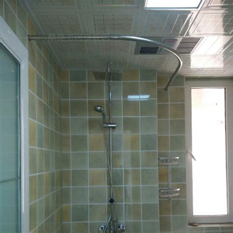 Thick stainless steel shower curtain rod curved l type u type corner bath size bar can be