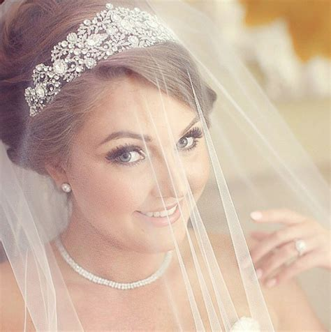 wedding hairstyles with crown and veil bridal crown bridal styles