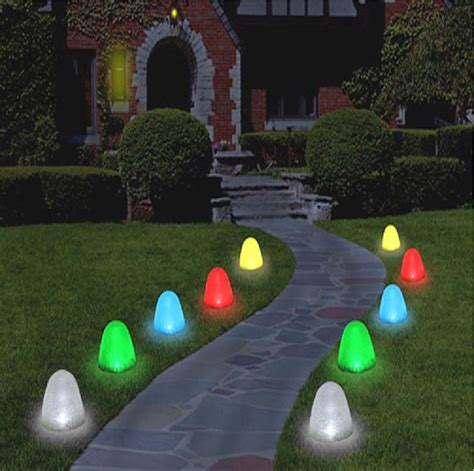 tall christmas light stakes christmasoutdoordecorating gt gum drop lights gt 8 quot gumdrop pathway led light set of 10