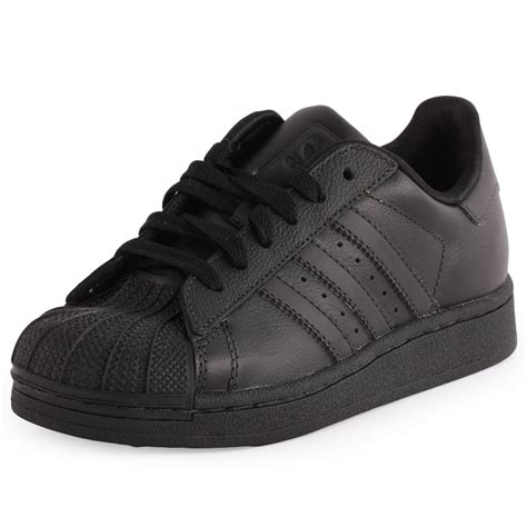 adidas superstar 2 leather black black trainers new shoes all sizes ebay