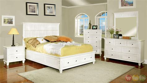 white cottage bedroom set willow creek cottage white storage bedroom set with 2 drawers in footboard cm7690wh