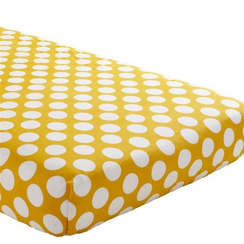 Yellow Bed Sheets by Not A Peep Crib Fitted Sheet Yellow W White Dot The