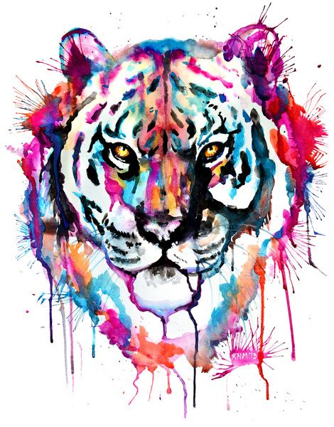 watercolor tattoo tiger the imaginary jungle watercolor tiger print by
