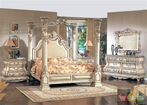 vintage inspired bedroom furniture antique white queen poster canopy bed victorian inspired