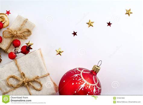 christmas decorations on white background vintage retro