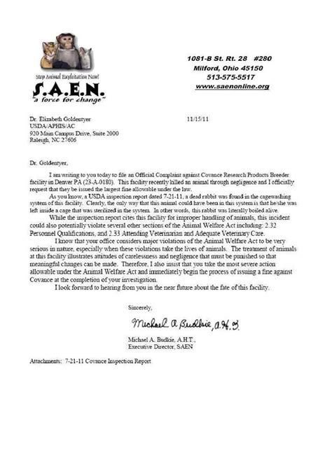 Complaint Letter For Piggery Letter Of Complaint To Usda 28 Nov 2011 Pennsylvania Facility Reports And Information