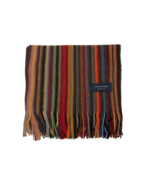 Striped Scarf wool striped scarf orange fields menswear