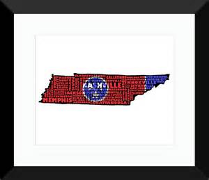 tennessee colors tennessee flag poster map tn typography map print