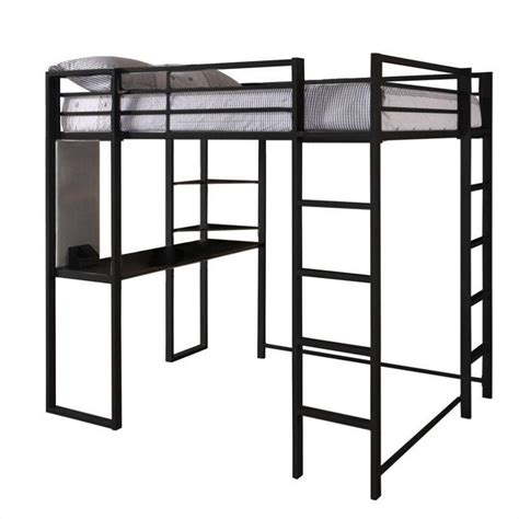 dhp abode metal loft bed in black with desk