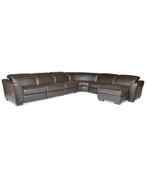 Leather Reclining Sectional Sofa With Chaise Alessandro 6 Leather Sectional With Chaise 2 Power
