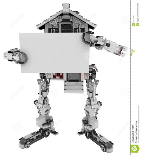 robot house robotic house sign stock illustration image of