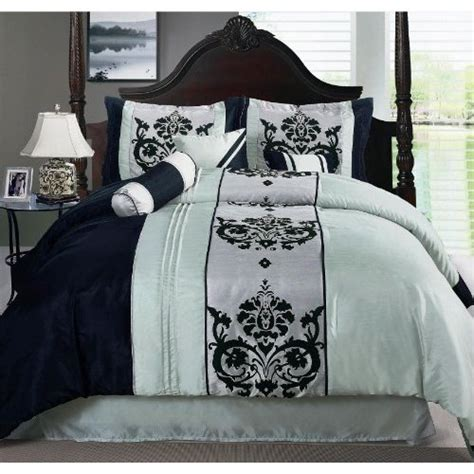 seafoam green comforter set com luxury 7 piece scroll design seafoam green