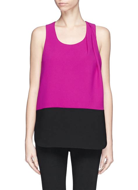 Shoulder Tank Blouse Pink wang twist shoulder tank top in pink lyst