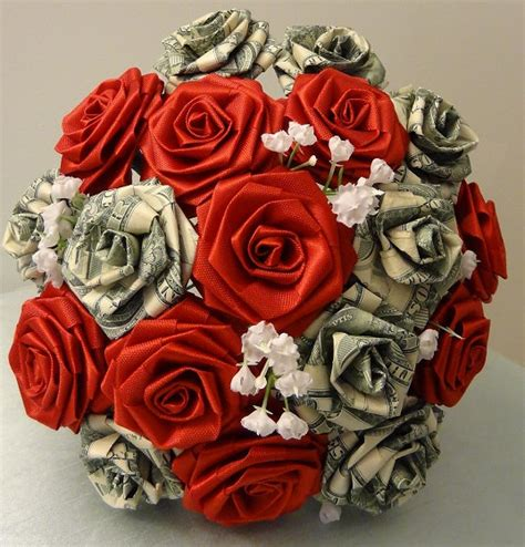 Origami Bouquet Of Roses - money bunches of money origami flower bouquet tossing