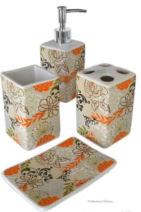 4 piece retro orange brown flower and leaves ceramic bath
