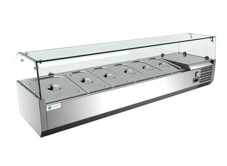 countertop prep cooler 1800l x 430h mm glass top countertop salad prep