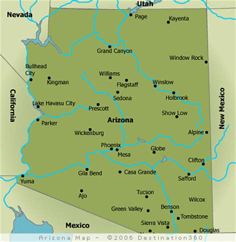 arizona map with cities map of arizona cities